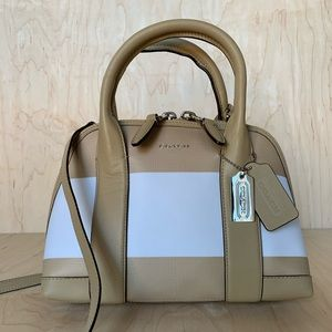 COACH TAN BLEECKER STRIPED MINI PRESTON SATCHEL